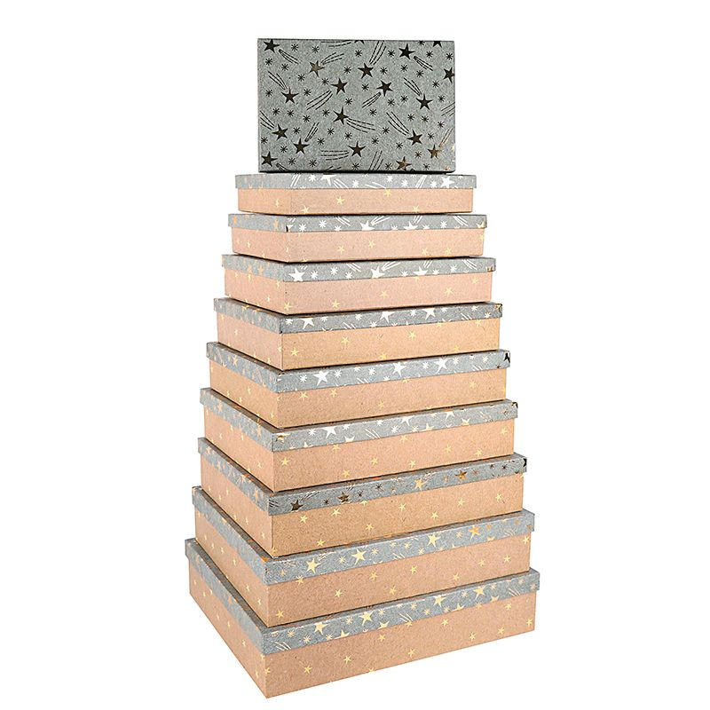 """Подарочная коробка """" Золотые звезды """" тиснение фольгой / прямоугольник 46*36,5*10, см."""