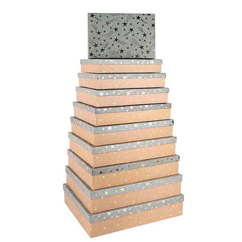"""Подарочная коробка """" Золотые звезды """" тиснение фольгой / прямоугольник 30*20*5.5 см."""