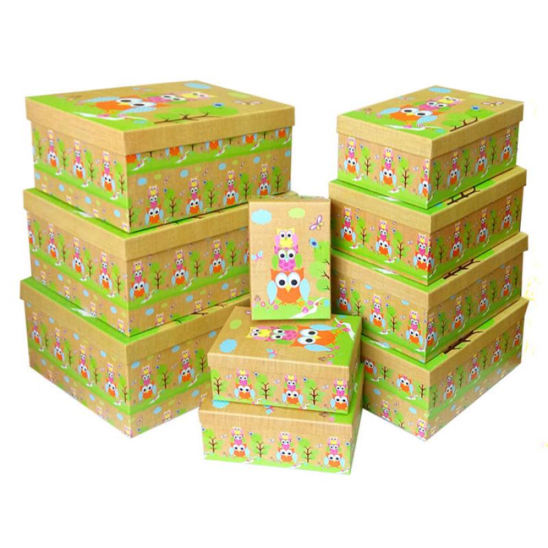 """Коробка """"Детская. Совушки"""" / прямоугольник № 4  25*18*10,5 см"""