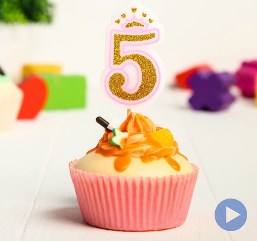 Свеча в торт цифра Дисней 5, Принцессы, с короной, золотая