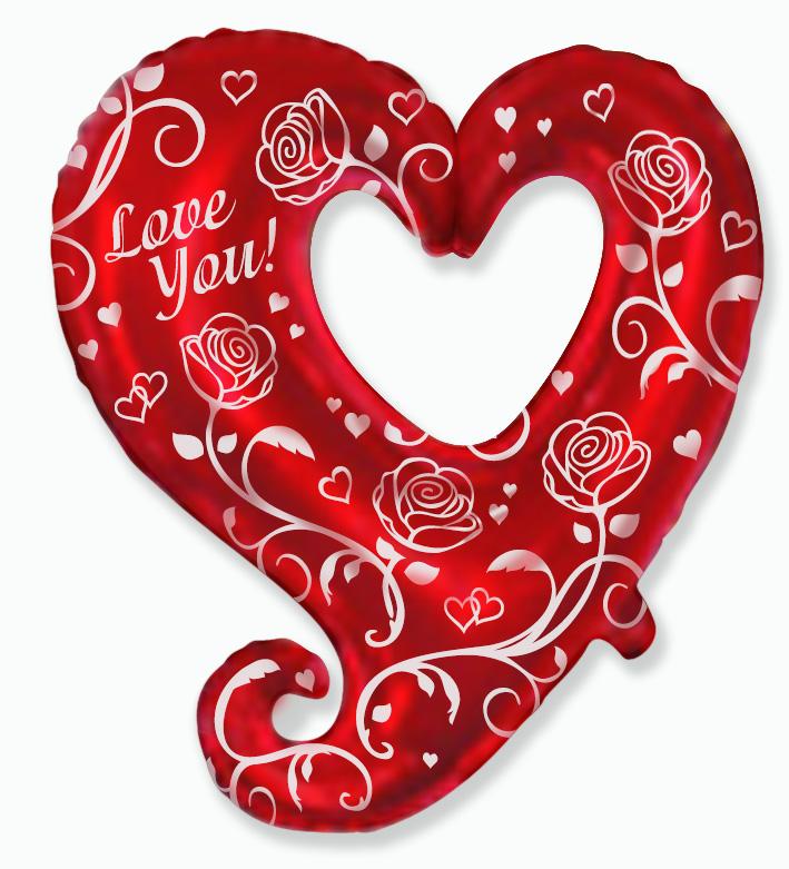 Розы и сердца, 80см