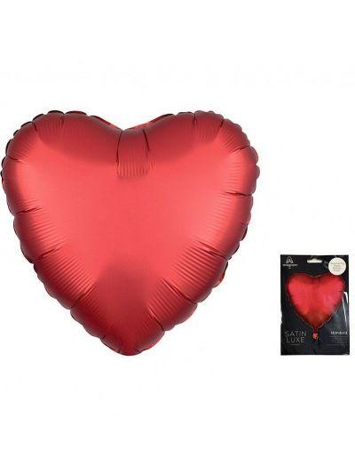 А 18 Сердце Красный Ягодный Сатин Люкс в упаковке / Satin Luxe Sangria Heart S15 / 1 шт