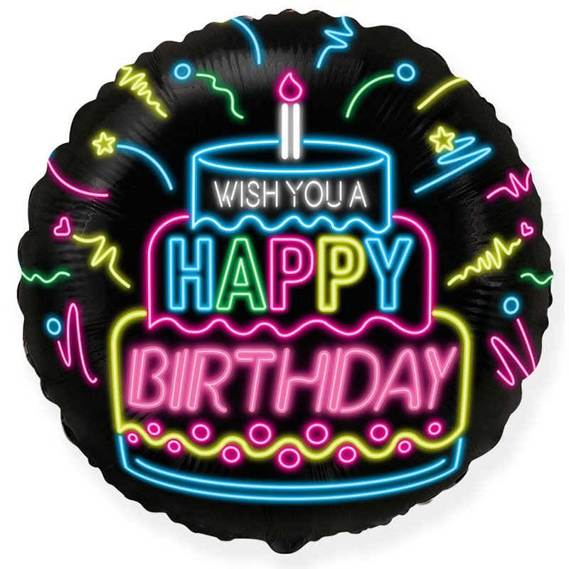 И 18 Круг С Днем Рождения Неон / RD Happy Birthday Neon / 1 шт