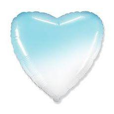 И 18 Сердце Бело-Голубой градиент / Heart White-Blue gradient / 1 шт