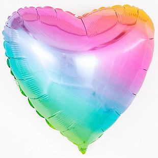 Сердце Радуга, нежный градиент / Rainbow gradient 18