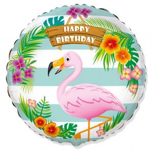 И 18 Круг Фламинго С Днем Рождения / Rnd BD Flamingo / 1 шт /