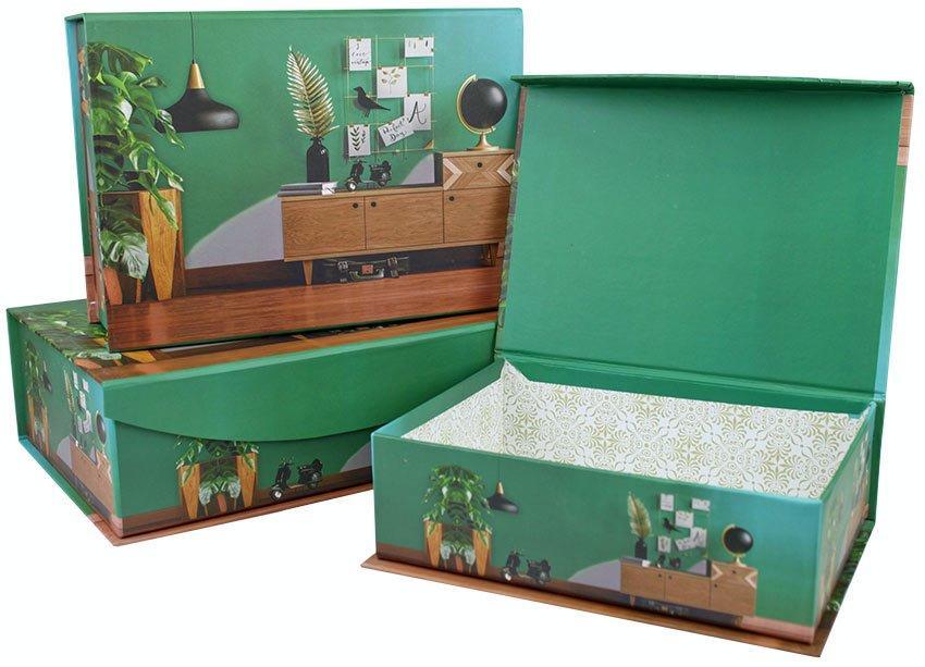 Набор коробок Шкатулка, Интерьер, Зеленый, 30*21*9 см, 3 шт.
