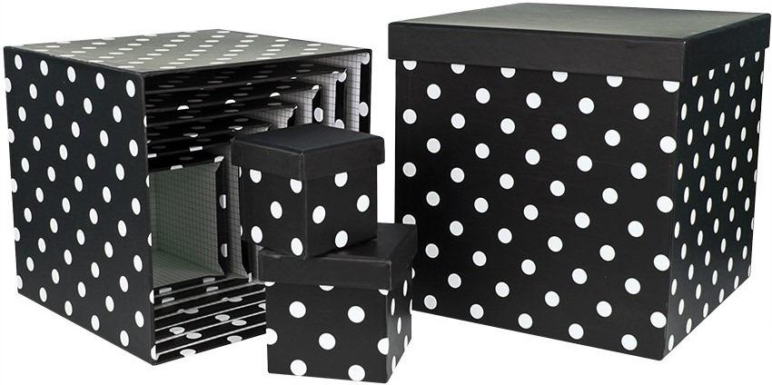 Набор коробок Куб, Белые точки, Черный, 14.5 x 14.5 см