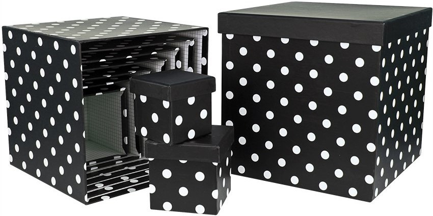 Набор коробок Куб, Белые точки, Черный, 8.5 x 8.5 см