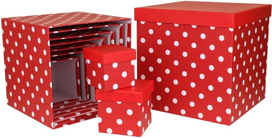Набор коробок Куб, Белые точки, Красный, 12.5 x 12.5 см