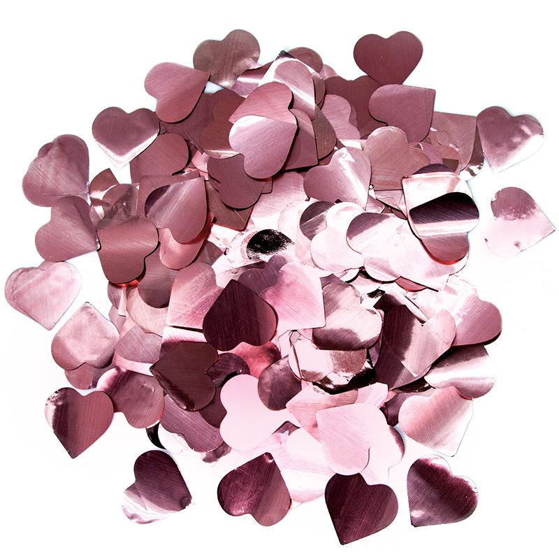 Конфетти фольга Сердце, Розовое Золото, 3 см, 50 гр.
