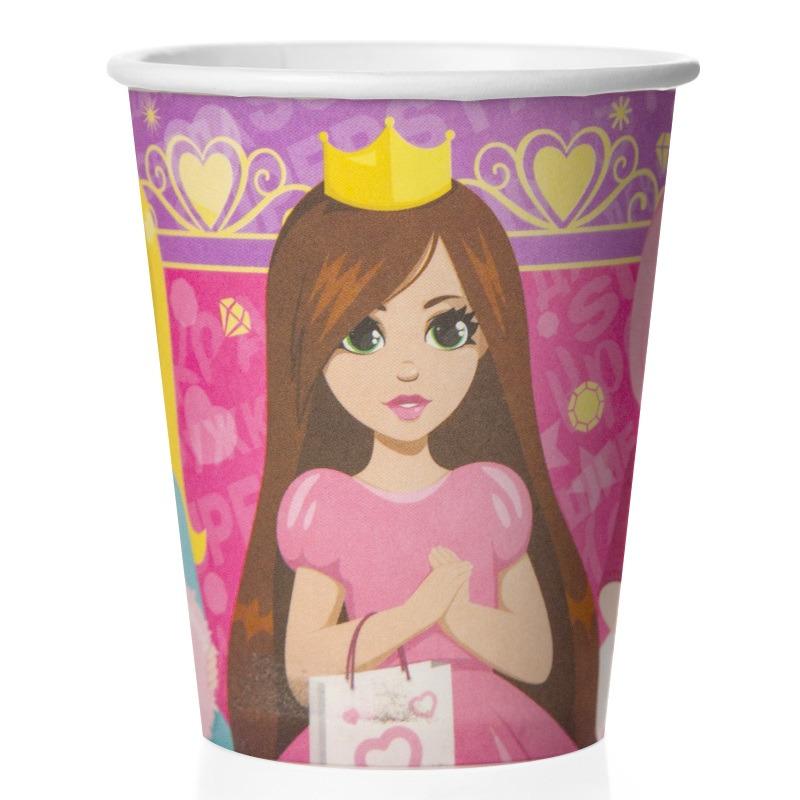 Стаканы (250 мл) Куклы Принцессы, Сиреневый/Розовый, 6 шт.