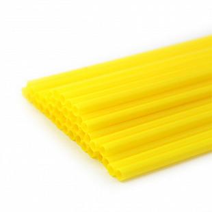 Трубочка полимерная для шаров, флагштоков и сахарной ваты ЖЕЛТАЯ разм5,4*380 мм  100 шт