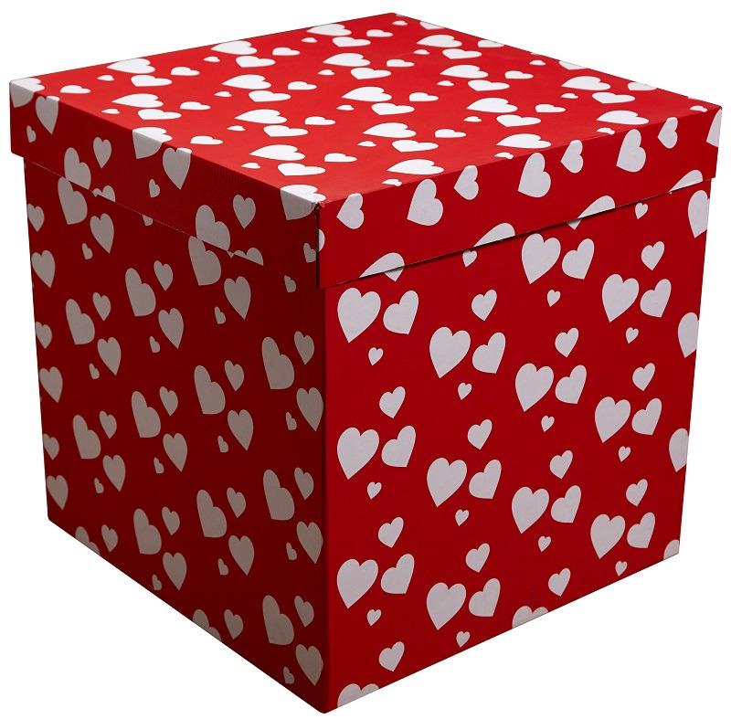 Коробка для воздушных шаров Красная с белыми сердечками,70*70*70 см.