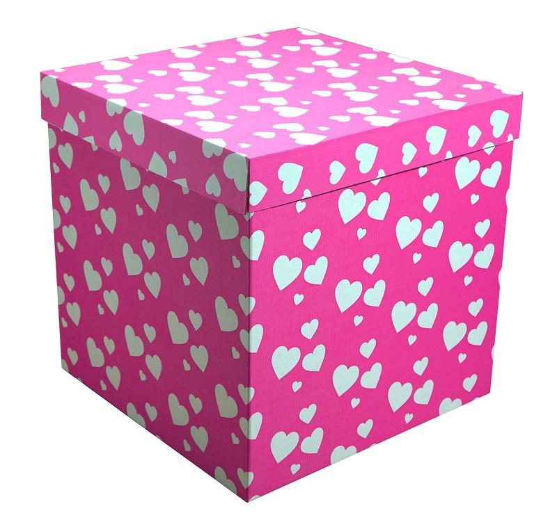 Коробка для воздушных шаров Розовая с белыми сердечками,70*70*70 см.