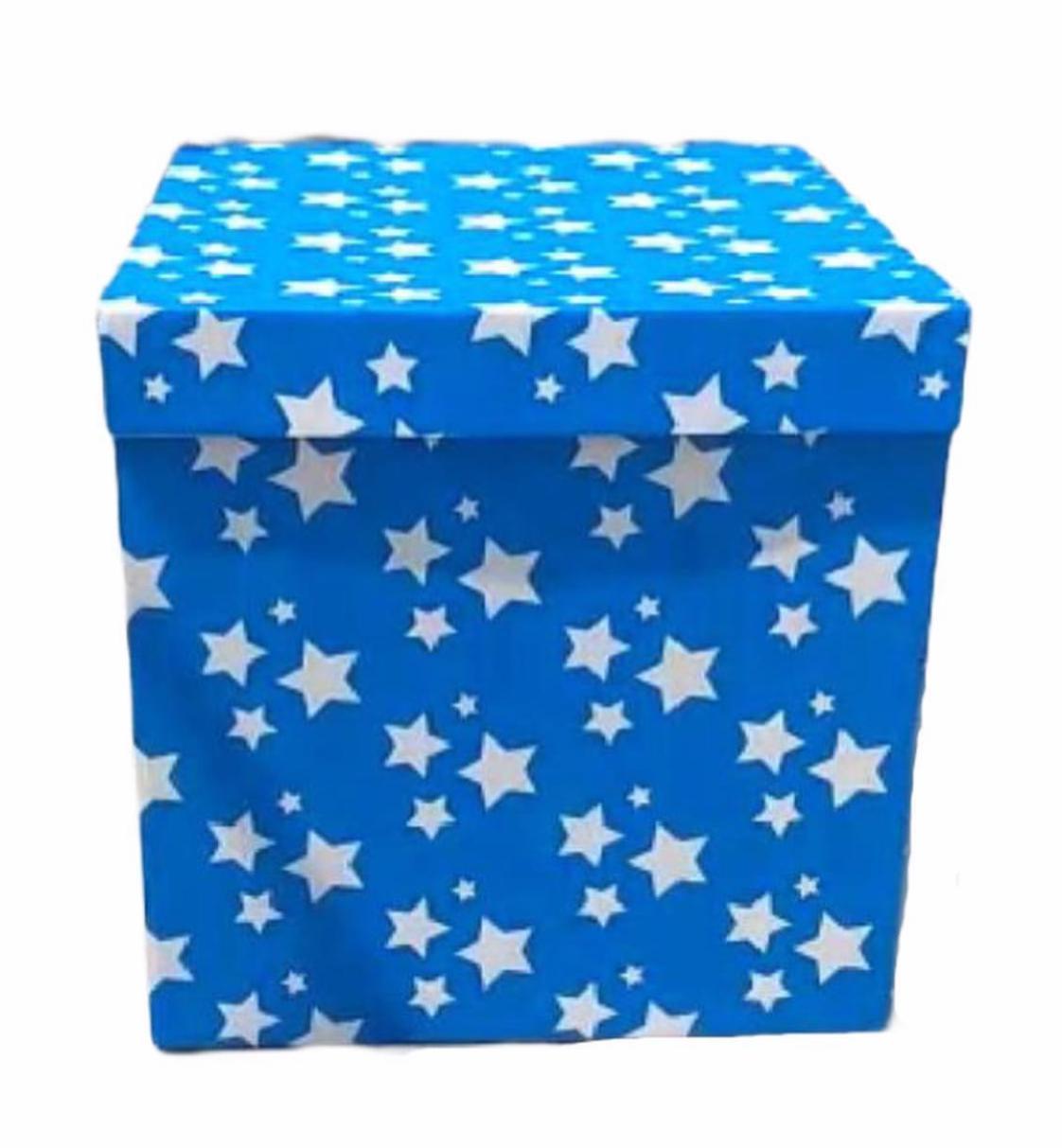Коробка для воздушных шаров Синяя с белыми звездами ,70*70*70 см.