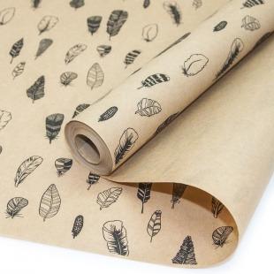 Упаковочная бумага, Крафт 70гр (0,6*10 м) Перья, Черный