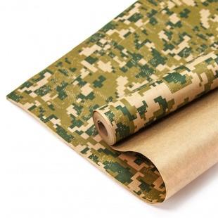 Упаковочная бумага, Крафт (0,7*10 м) Камуфляж, Пиксели, Хаки