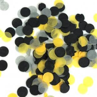 Конфетти тишью, Круги, Микс желтый/серый/черный, 7 гр.