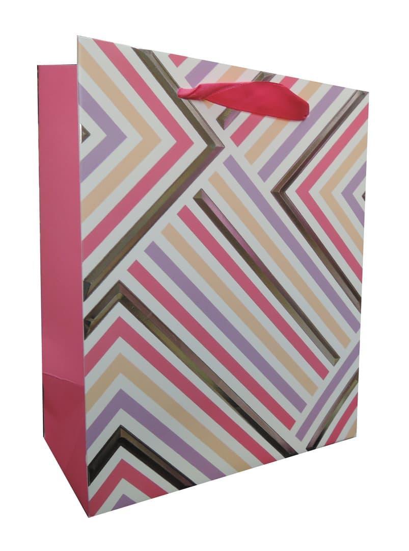 Пакет подарочный, Геометрия линий, Розовый, 23*18*10 см.
