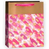 Пакет подарочный, Золотые штрихи, Розовый, 40*30*12 см.