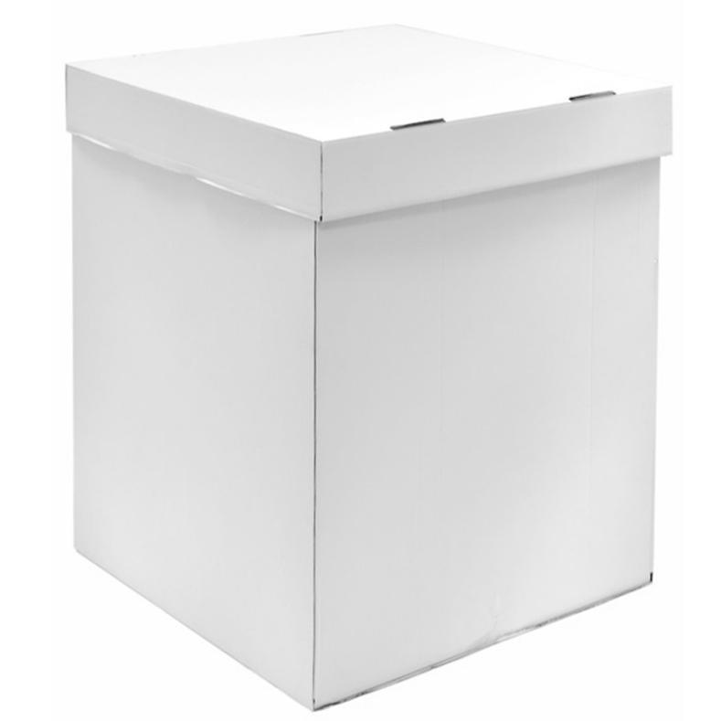 Коробка для воздушных шаров белая 80*55*55 см.