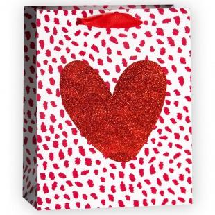 Пакет подарочный, Сердце, Красный, с блестками, 32*26*12 см.