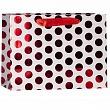 Пакет подарочный, Красные точки, Белый, Металлик, 18*23*10 см.