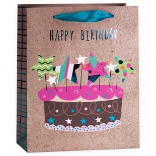 Пакет подарочный, С Днем Рождения (торт), Крафт, Металлик, 23*18*10 см.