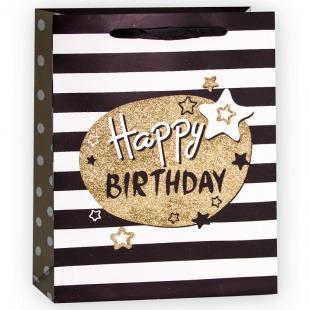 Пакет подарочный, С Днем Рождения (звезды), Черный, с блестками, 23*18*10 см,
