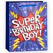 Пакет подарочный, Супер День Рождения (для мальчика), Синий, с блестками, 23*18*10 см.