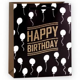 Пакет подарочный, С Днем Рождения (воздушные шарики), Черный, с блестками, 32*26*12 см,