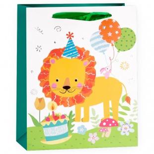 Пакет подарочный, Львенок с тортиком, с блестками, 23*18*10 см,
