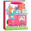 Пакет подарочный, Паровозик с подарками, Розовый, с блестками, 32*26*12 см.