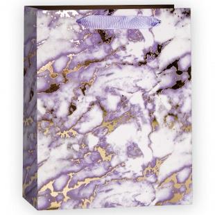 Пакет подарочный, Мрамор, Золото/Сиреневый, Металлик, 23*18*10 см.