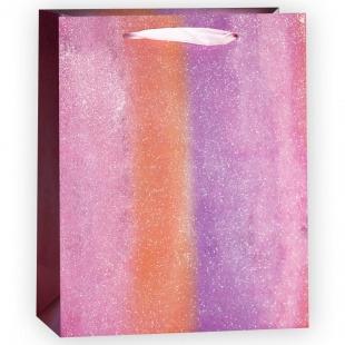Пакет подарочный, Сиреневая радуга, Градиент, с блестками, 40*30*12 см.