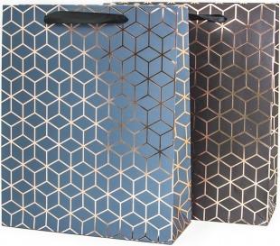 Пакет подарочный, Геометрия ромбов, Металлик, 23*18*8 см.