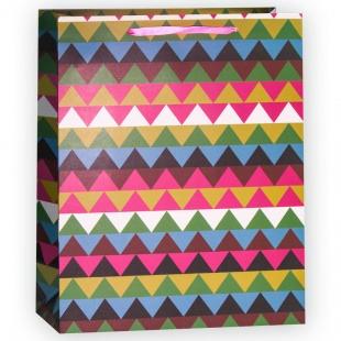 Пакет подарочный, Разноцветные треугольники, 32*26*12 см.