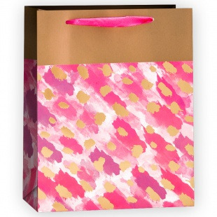 Пакет подарочный, Золотые штрихи, Розовый, 32*26*12 см.