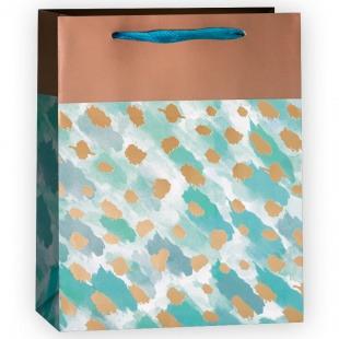 Пакет подарочный, Золотые штрихи, Бирюзовый, 32*26*12 см.