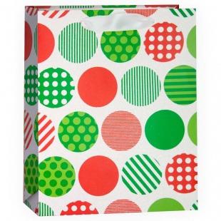 Пакет подарочный, Разноцветный микс с кругами, Белый, с блестками, 32*26*12 см.
