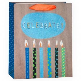 Пакет подарочный, С Праздником (стильные свечи), с блестками, 23*18*10 см.
