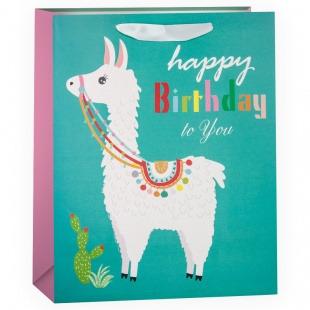 Пакет подарочный, С Днем Рождения (милая лама), Бирюзовый, с блестками, 32*26*12 см.