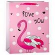 Пакет подарочный, Люблю тебя (фламинго), Розовый, 42*31*12 см.