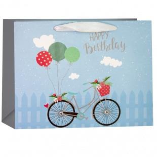 Пакет подарочный, С Днем Рождения (велосипед и шарики), Голубой, 18*23*10 см.